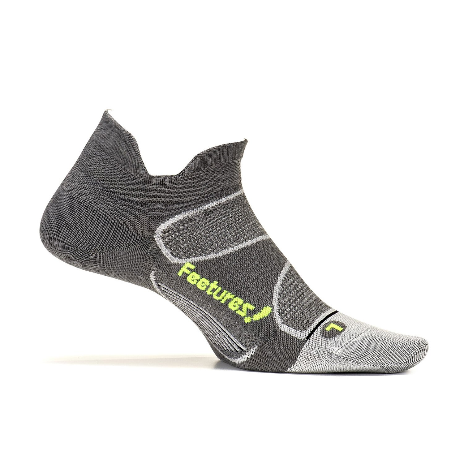 Feetures - Elite Ultra Light - No Show Tab - Athletic Running Socks for Men and Women - Graphite + Reflector - Size Small