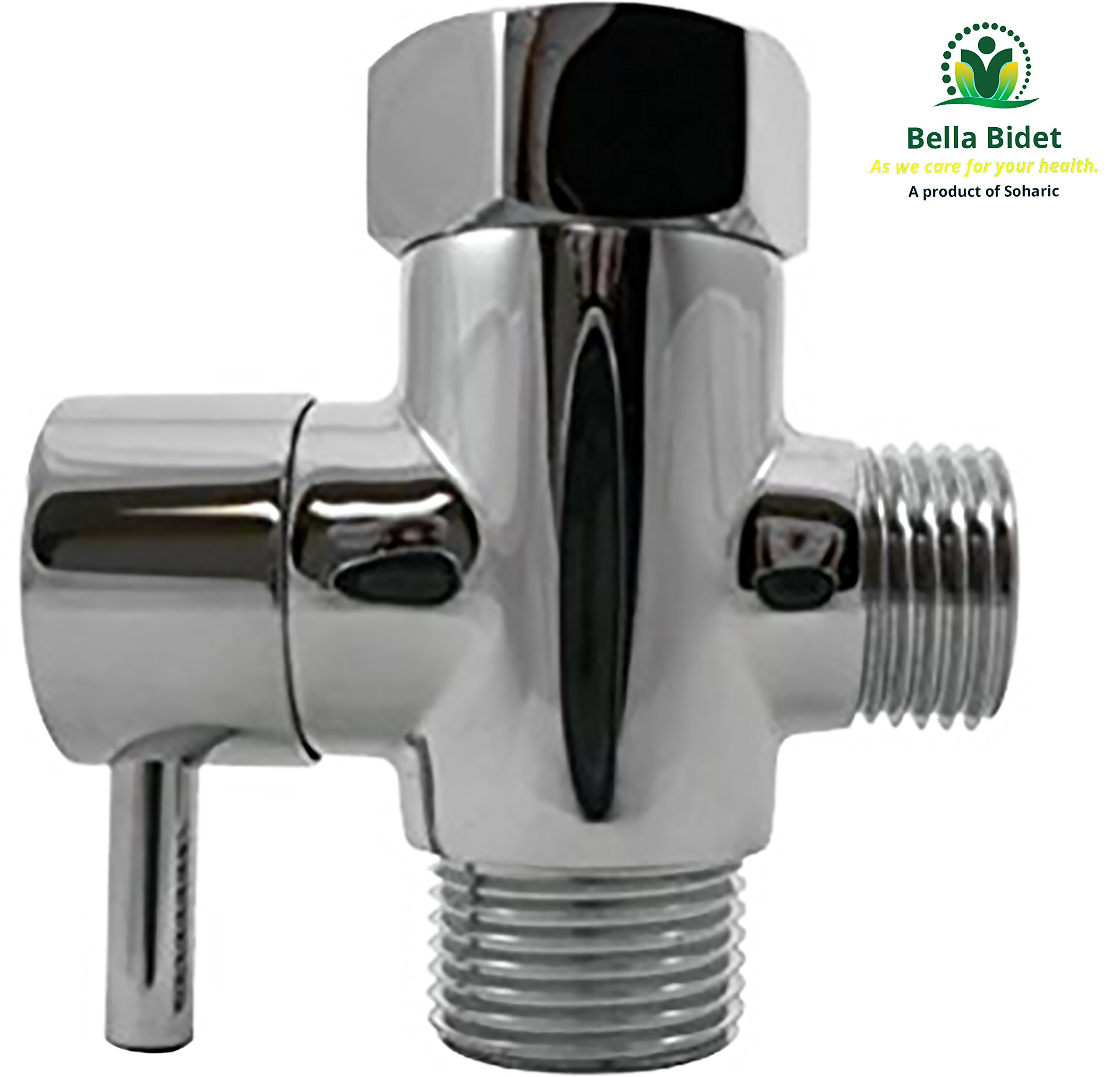 Bella Bidet Solid Brass Metal T-adapter with Shut-off Valve, 3-way Tee Connector for Handheld Bidet 15/16'' and 1/2'' IPS, Chrome Finish by Soharic