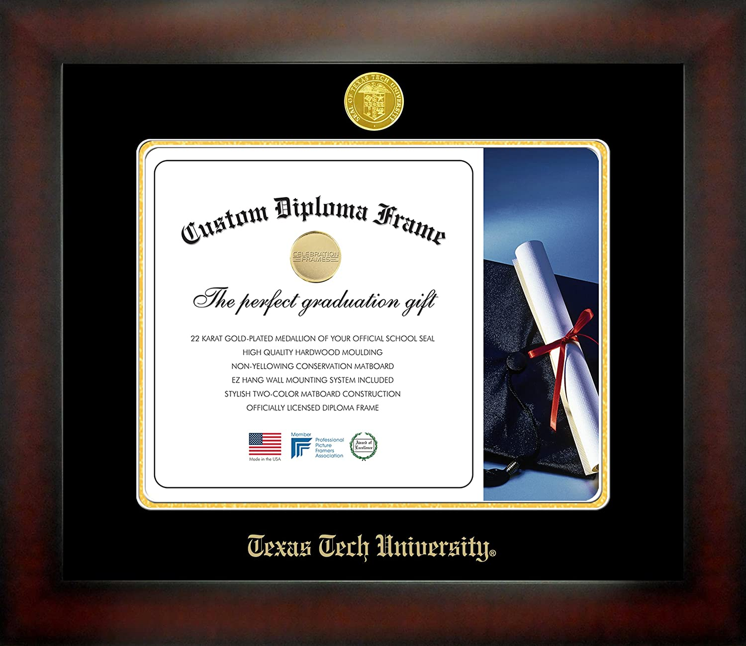 NCAA Texas Tech Red Raiders Infinity Diploma Frame Brown with Black Edging Medium