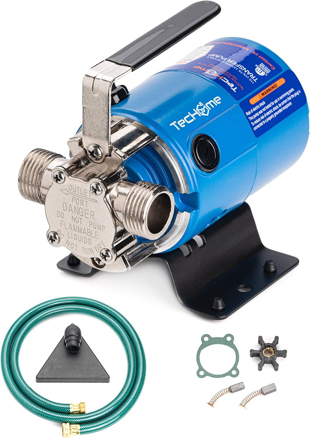 TecHome 115Volt 1/10HP 330GPH Mini Portable Transfer Water Pump with Suction Hose Kit, Blue