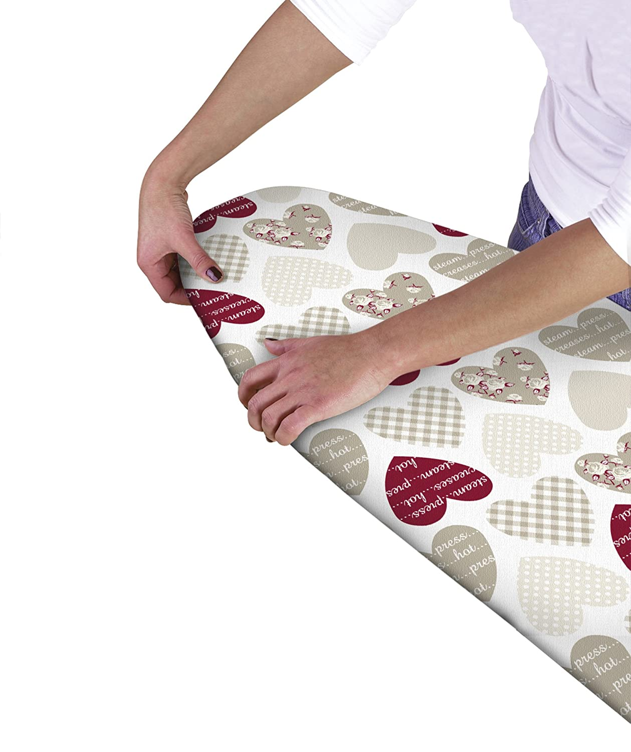 Country Club Multi Fit Elasticated Ironing Board Cover, Hearts Beamfeature