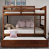 Bunk Beds Full Over Full with Trundle,JULYFOX 725lb Heavy Duty Full Size Platform Bed Pine Wood with Headboard Foot…