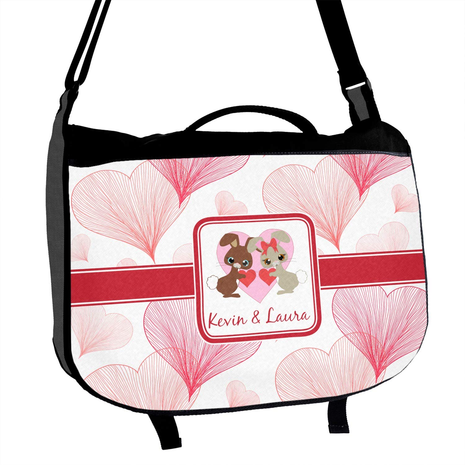 Personalized Hearts /& Bunnies Messenger Bag