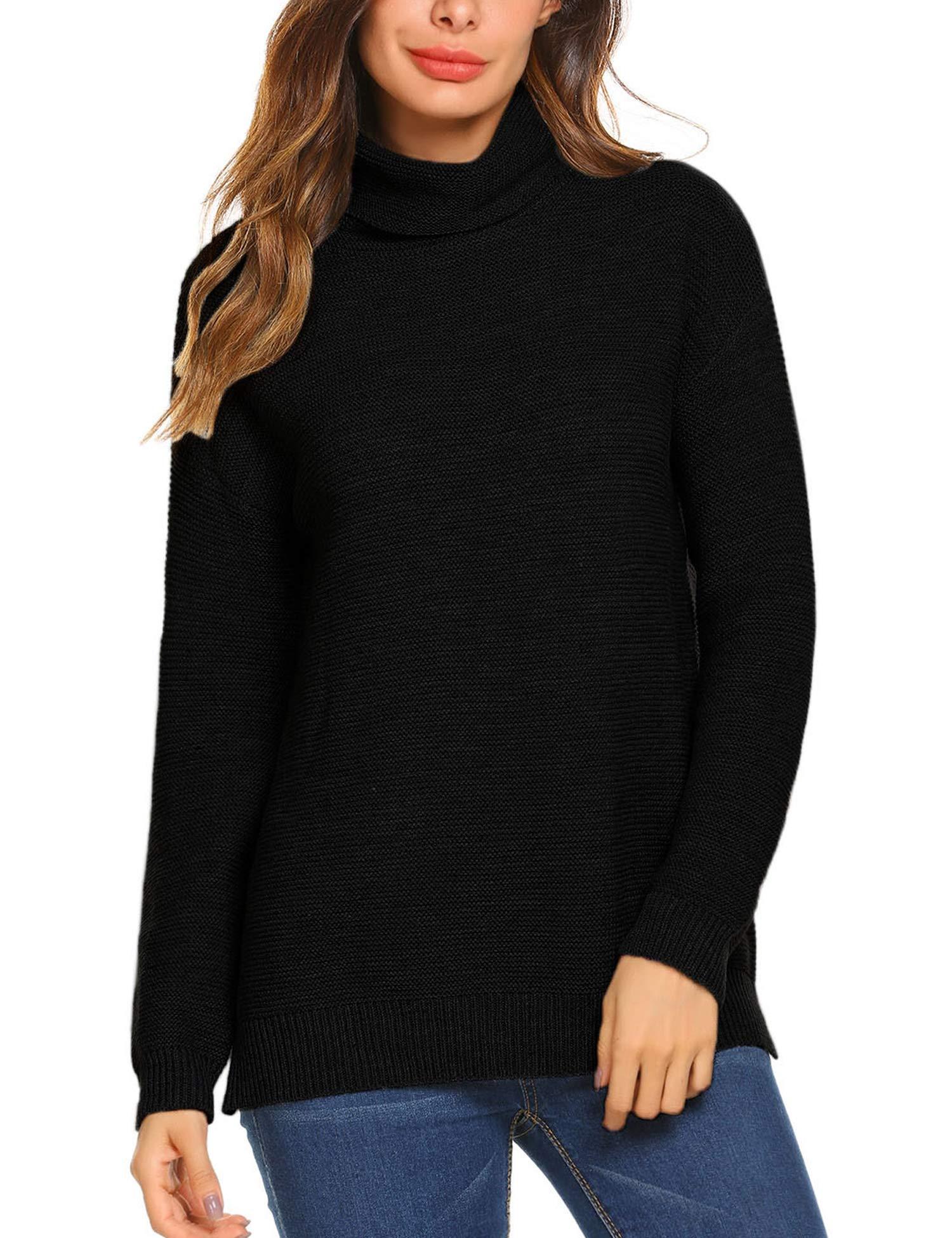 Teewanna Womens Cowl Neck Sweater Oversized Knit Long Sleeve Sweaters Tunic Tops (Black, XL)