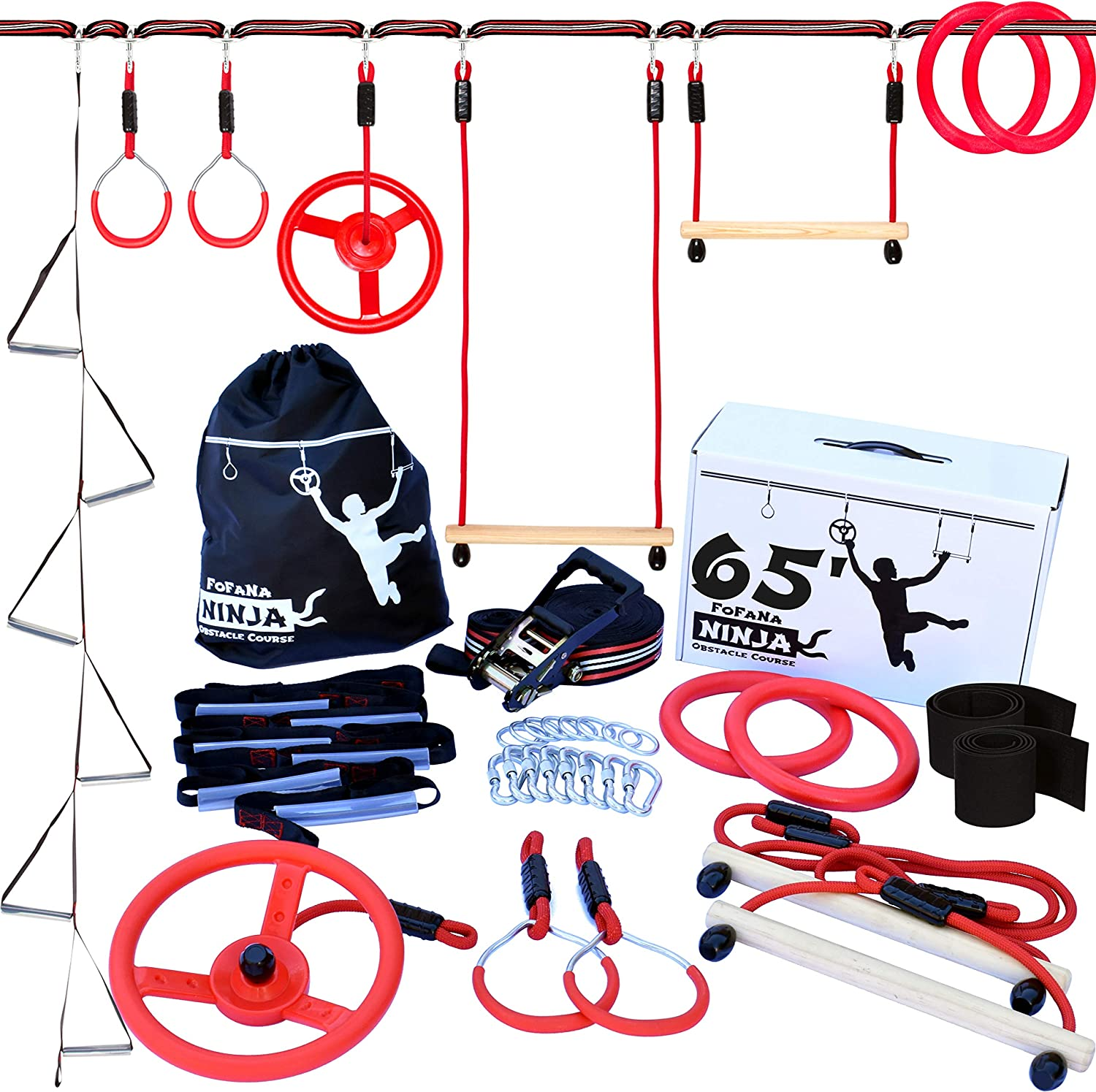 Fofana Ninja Warrior Obstacle Course for Kids - 65 Ninja Slackline Obstacle Course for Kids with Adjustable Position | Bonus Freestyle Rings and ...
