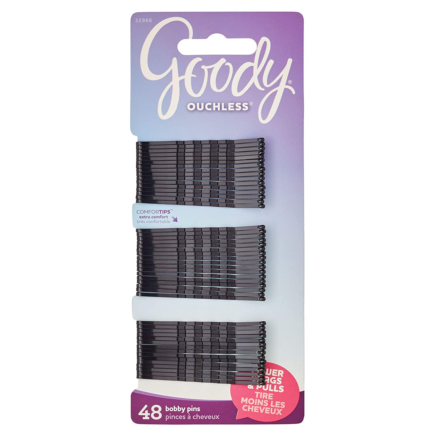 Goody Ouchless Bobby Pin, Crimped Black, 2 Inches, 48 Count (Pack of 1) : Hair Pins : Beauty