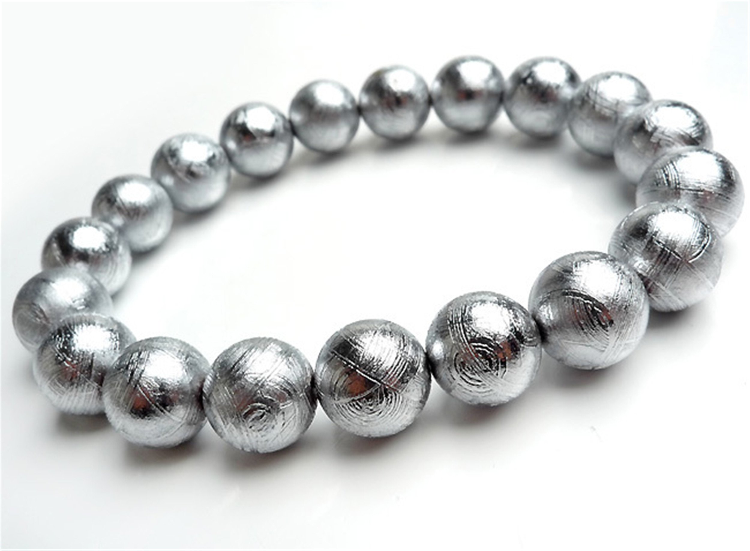 10 mm Genuine Natural Silver Plated Gibeon Meteorite Round Bead Powerful Bracelet