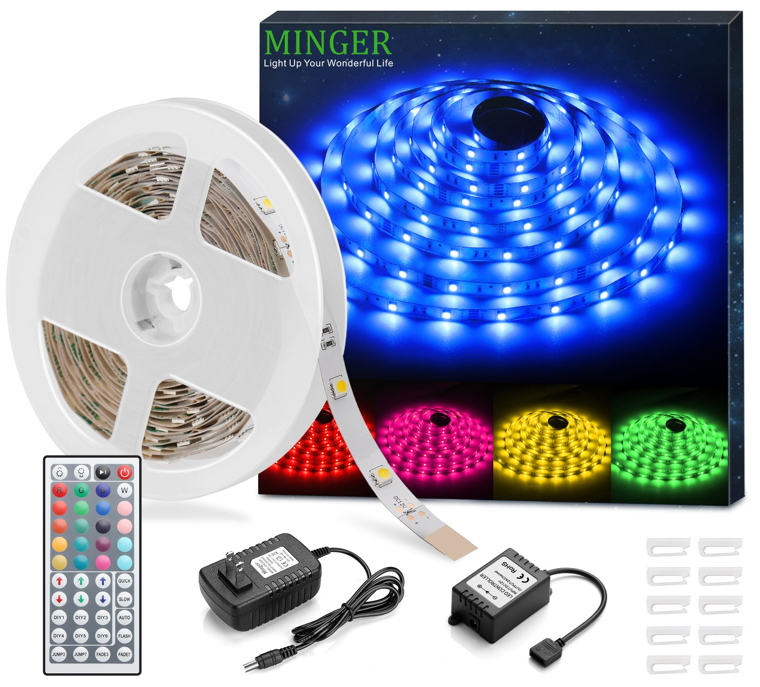 MINGER RGB LED Strip Lights, Non-waterproof 16.4ft SMD 5050 Rope Lighting Color Changing with RF Remote Controller & 12V Power Supply, Flexible LED Tape Lighting Strips for Home Kitchen Decoration by MINGER