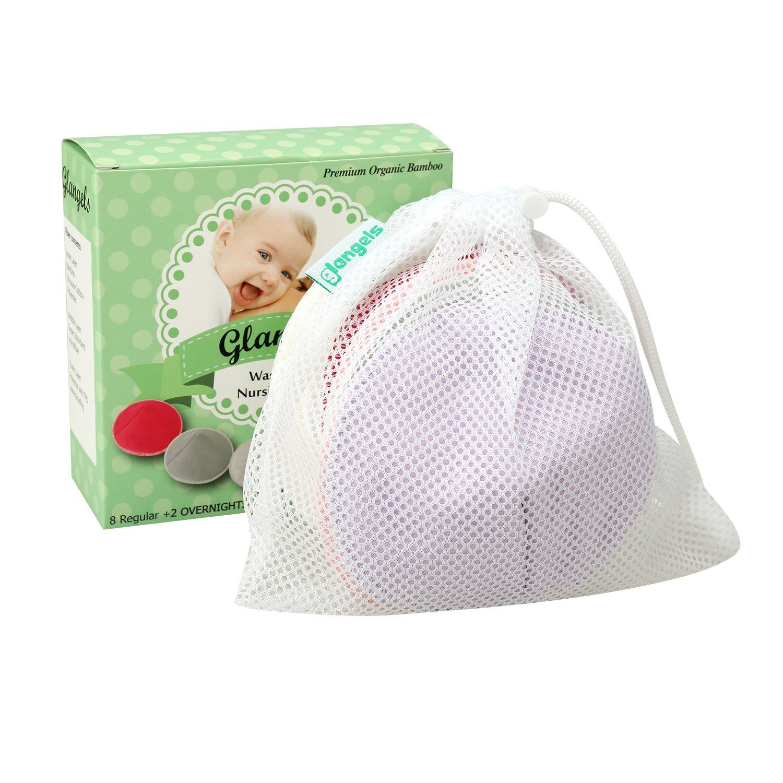Contoured Washable Organic Bamboo Reusable Nursing Pads for Breastfeeding Mothers Super-Soft Waterproof Maternity Bra Pads (8 Regular+2 Overnight) +2 Free Bonus