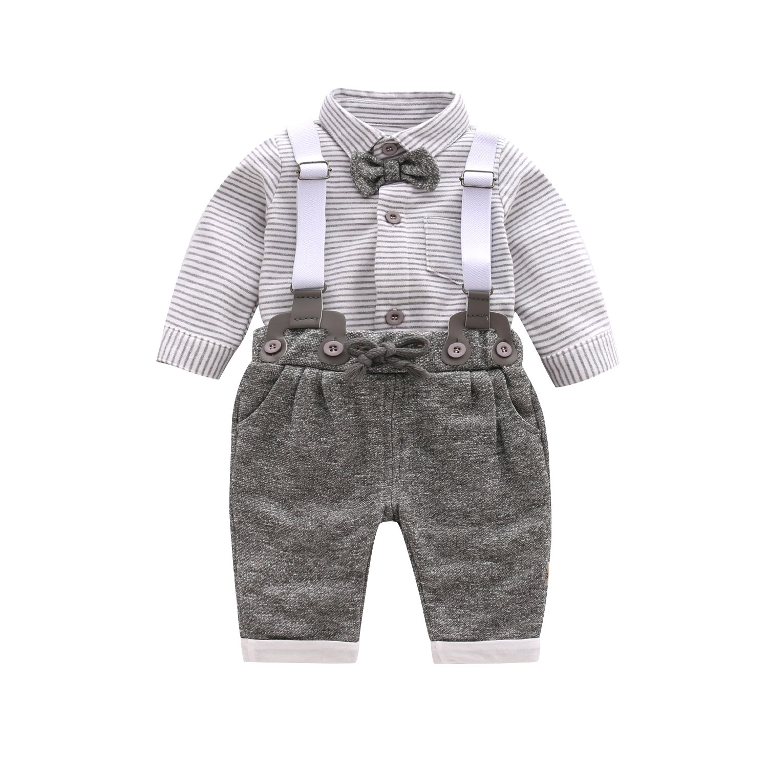 Baby Boy Clothing Sets with Bowtie,Infant Gray Stripe Onesie + Bibs Overalls + Suspenders Outfit Suits