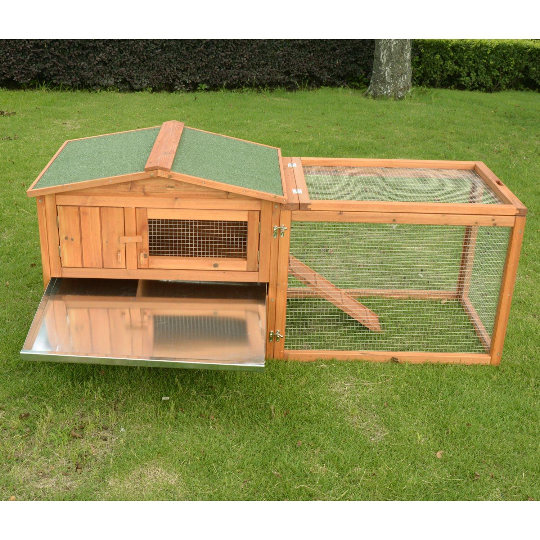 PawHut 62'' Outdoor Guinea Pig Pet House/Rabbit Hutch Habitat with Run by PawHut (Image #5)
