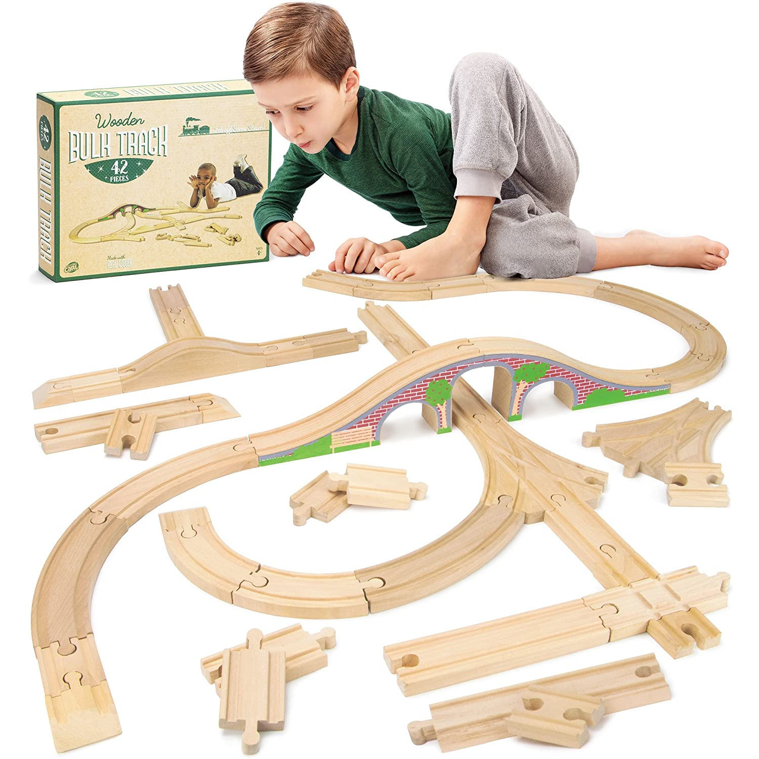 42 piece Bulk Value Wooden Train Track Booster Pack with Red Brick Bridge Compatible with All Major Toy Train Brands by Conductor Carl
