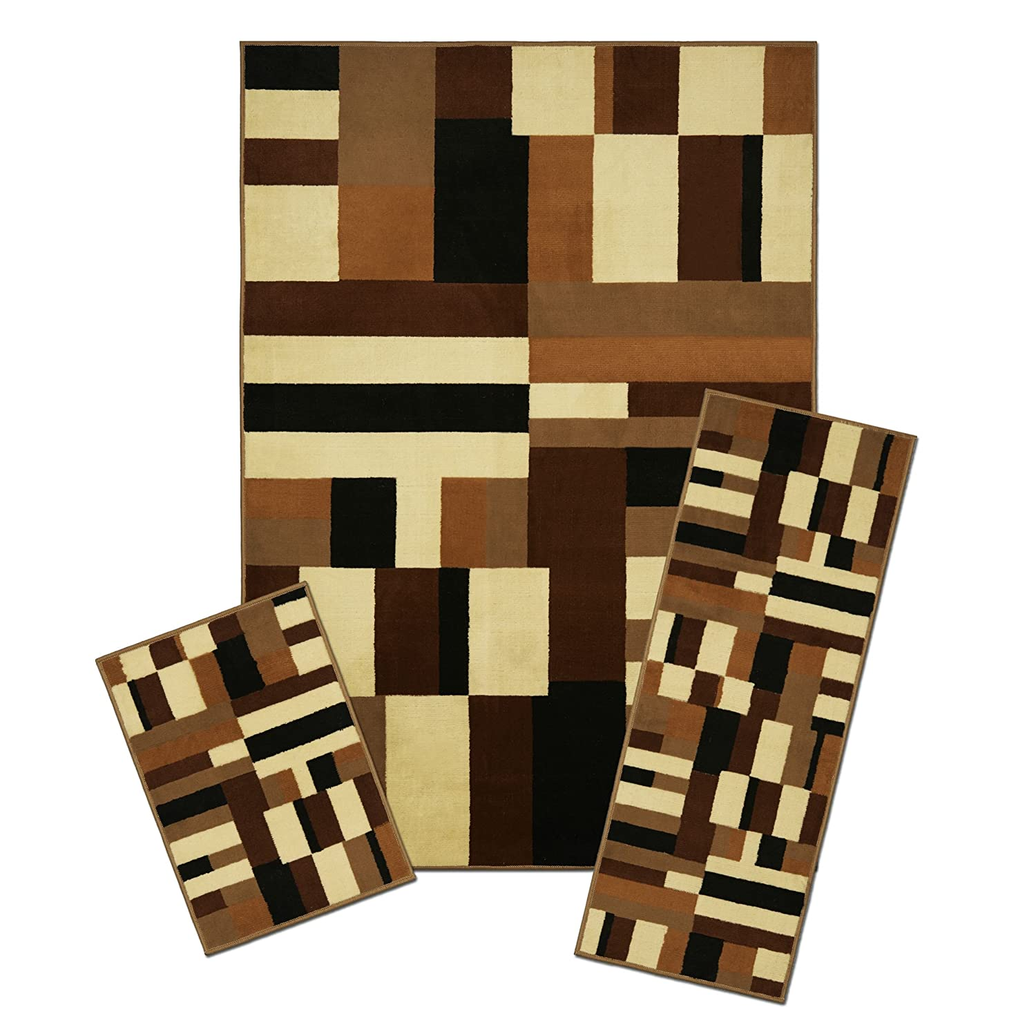 """Maya Collection 3 Pc Area Rug Set Size: 5'x7' Rug, 22""""x59"""" Runner, 22""""x31"""" Mat - Contempo Naturally Home"""