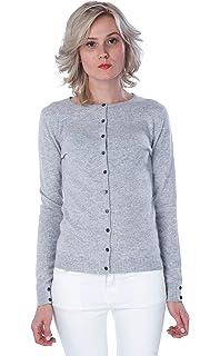 0c3b1d0179de CASHMERE 4 U 100% Cashmere Crew Neck Long Sleeve Cardigan for Women - by