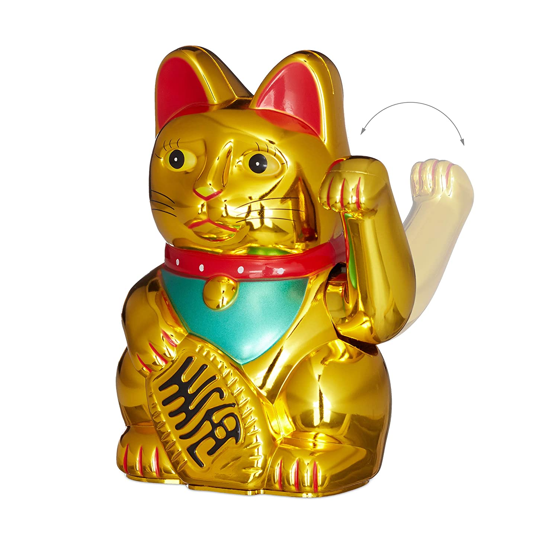 Relaxdays Maneki Neko Waving Cat Good Luck Bringer Gold 8 x 10 x 16 cm