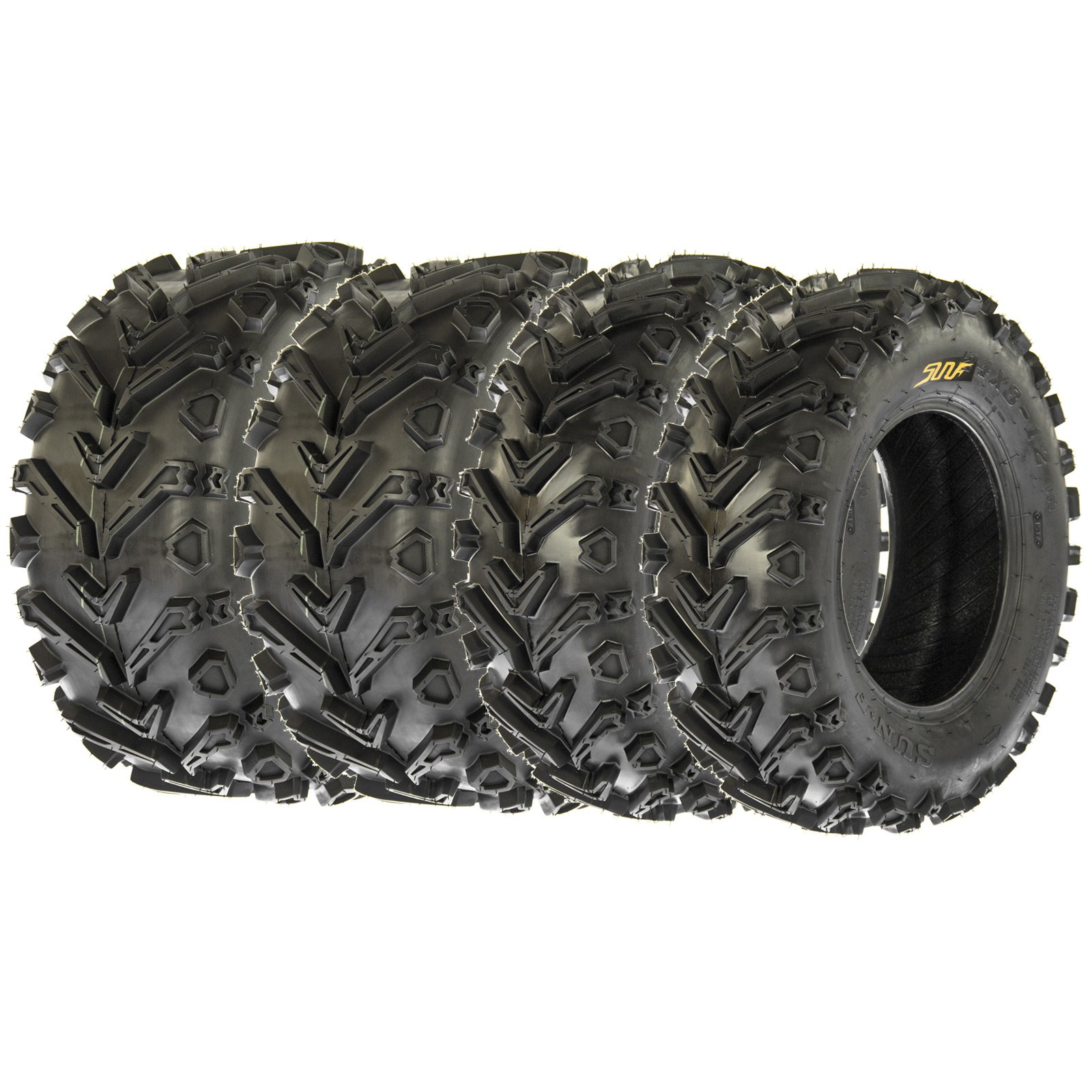 Set of 4 SunF A041 ATV/UTV Tires 25x8-12 & 25x10-12, 6 Ply