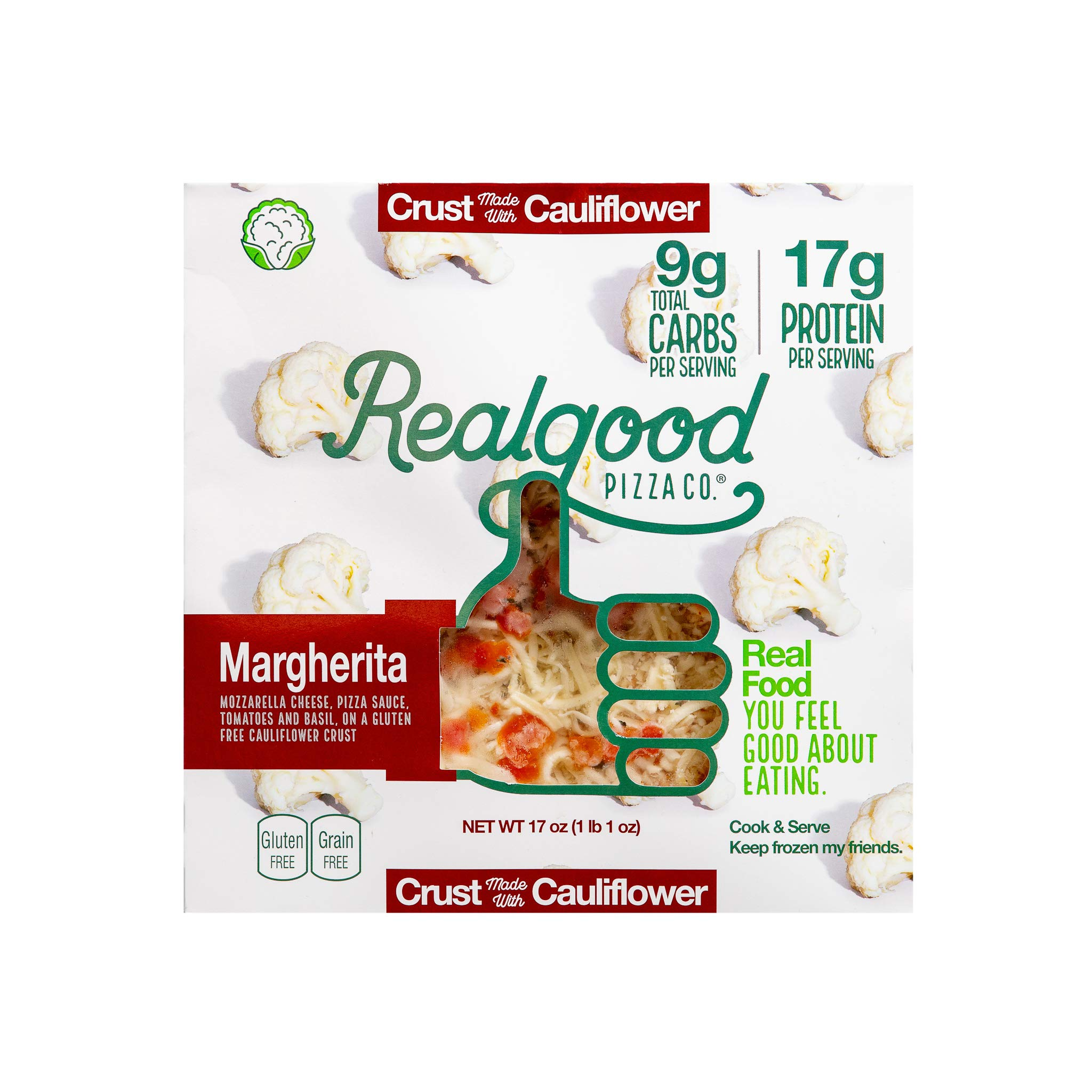 Real Good Foods, Low Carb - High Protein - Gluten Free - 11'' Cauliflower Crust Pizza, Margherita (4 Count) by Real Good Foods