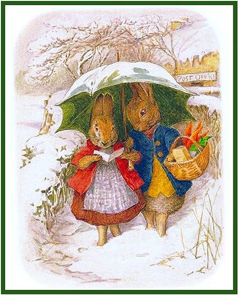 Beatrix Potter Peter Rabbit Family on Walk Counted Cross Stitch Pattern