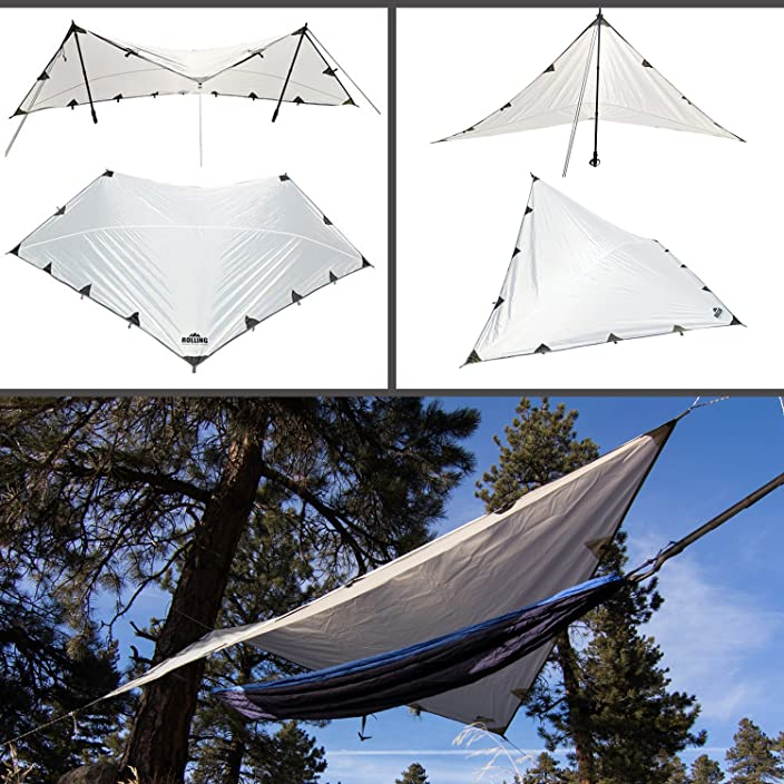 Rolling Fox Tarp Shelter Waterproof lightweight Hammock Camping and Survival Tarp Shelter