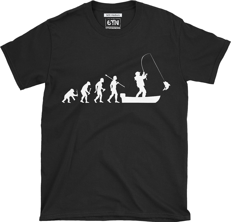 6TN evolución del Hombre a Barco Pesca Camiseta de Manga Corta