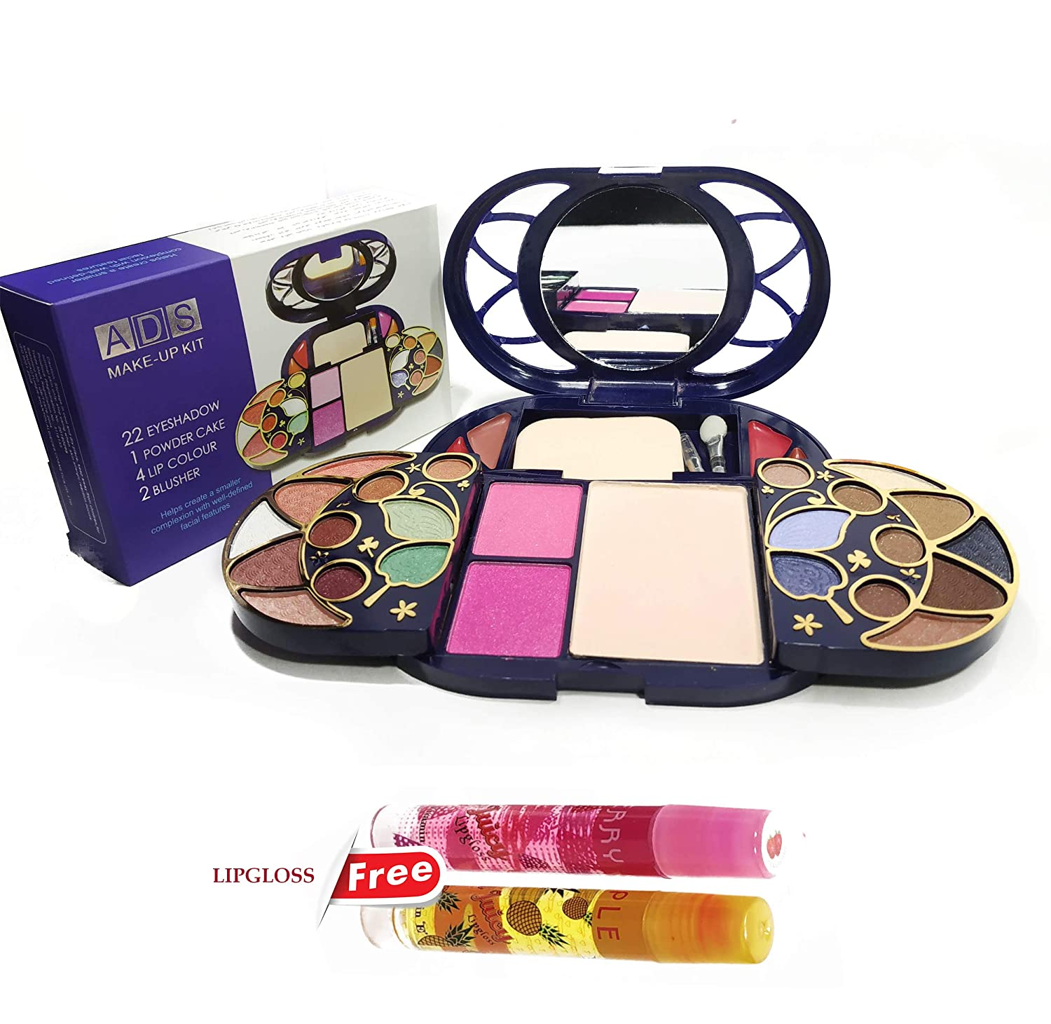 Ads Color Series Make Up Kit 22 Eyeshadow 1 Powder Cake 4 Lip