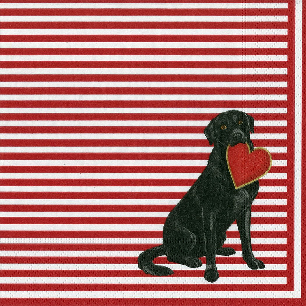 Puppy love Labrador Dog Heart red stripes Caspari Lunch Paper Napkins 20 in pack 3 ply 33 cm square