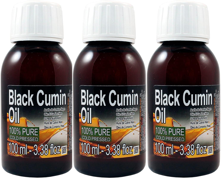 Set de TRES (3) Botellas de Aceite Esencial Puro de Comino Negro 100% puro, 100% Natural. Total 300ml (100ml cada botella) botella ambar, Calidad Garantizada, Obtenido por primera prensada en frio, extra virgen, sin diluir, sin agregados ni químicos, Calid