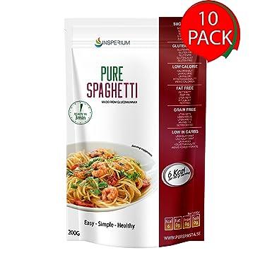PureSpaghetti Espaguetis Konjac Sin Gluten 10 Pack 200 gramos | Vivir Sin Gluten Con Harina Gluten Free Con La Pasta Contra Intolerancia Gluten | Bajo ...