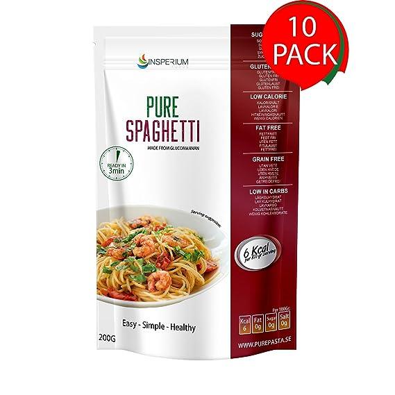 PureSpaghetti Espaguetis Konjac Sin Gluten 10 Pack 200 gramos | Vivir Sin Gluten Con Harina Gluten