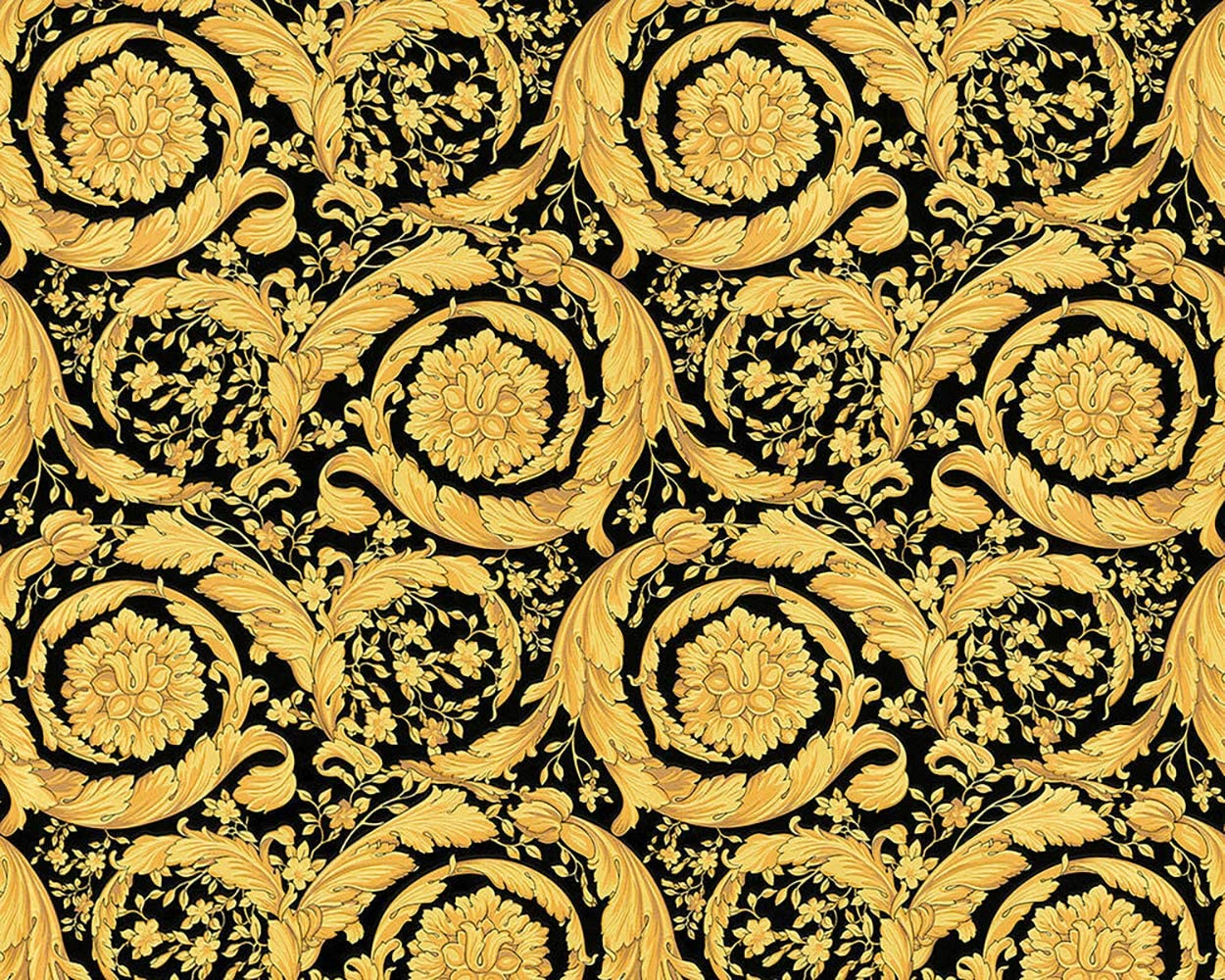 paper Wallpaper double roll barocco vintage damask yellow white gold textured 3D