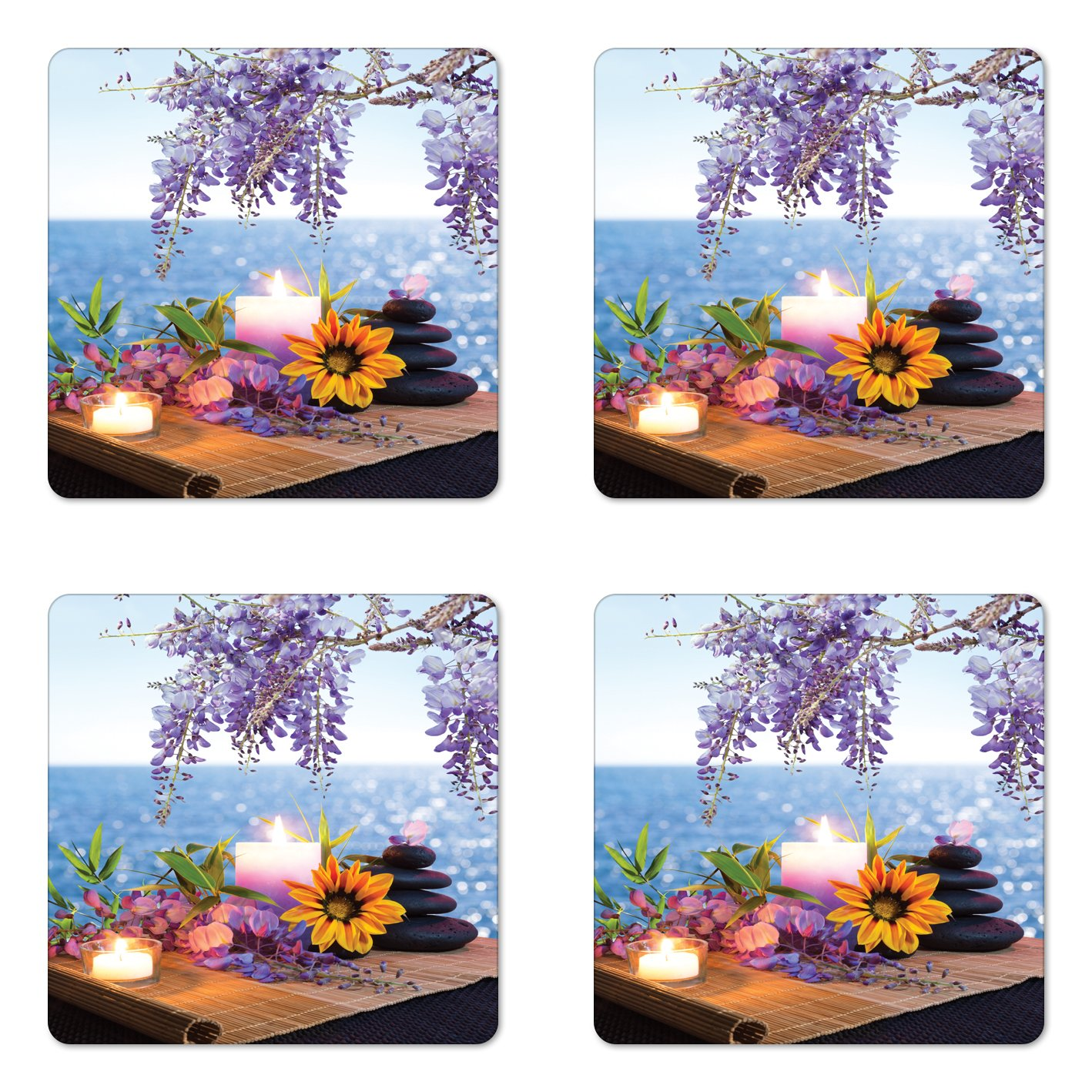 Lunarable Spa Coaster Set of Four, Massage Stones with Daisy and Wisteria with the Seabed Foliage Meditation, Square Hardboard Gloss Coasters for Drinks, Pale Blue Lavander Green
