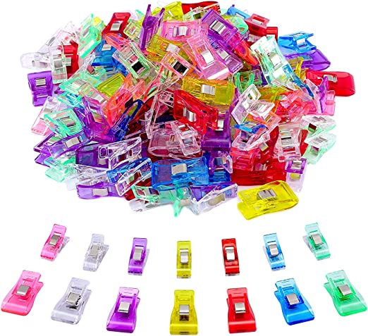 100 Pack-2 Sizes Sewing Clips Multicolor for Sewing Craft Clamps,Crafting,Crochet and Knitting,All Purpose Clips for Quilting Binding Clips,Fabric Clips,Paper Clips,Blinder Clips