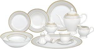 Lorren Home Trends 57-Piece Porcelain Dinnerware Set, Alina-GD, Service for 8