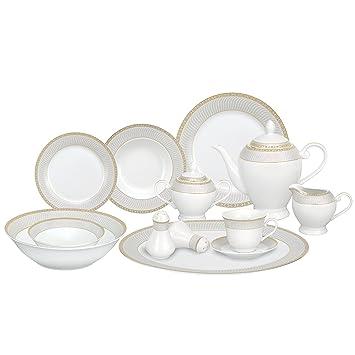 Lorren Home Trends 57-Piece Porcelain Dinnerware Set Alina-GD Service for  sc 1 st  Amazon.com & Amazon.com: Lorren Home Trends 57-Piece Porcelain Dinnerware Set ...