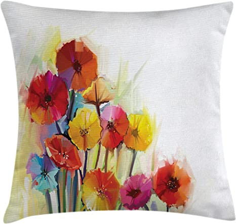 Ambesonne Floral Nature Cushion Cover Set of 2 for Couch and Bed in 4 Sizes