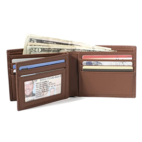 ID Stronghold RFID Mens 10 Slot Bifold Wallet in Genuine Leather - RFID Blocking Wallets for Men (Tan)