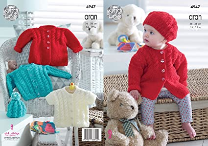07779d9cc King Cole 4947 Knitting Pattern Baby Childrens Cardigan Jacket and ...
