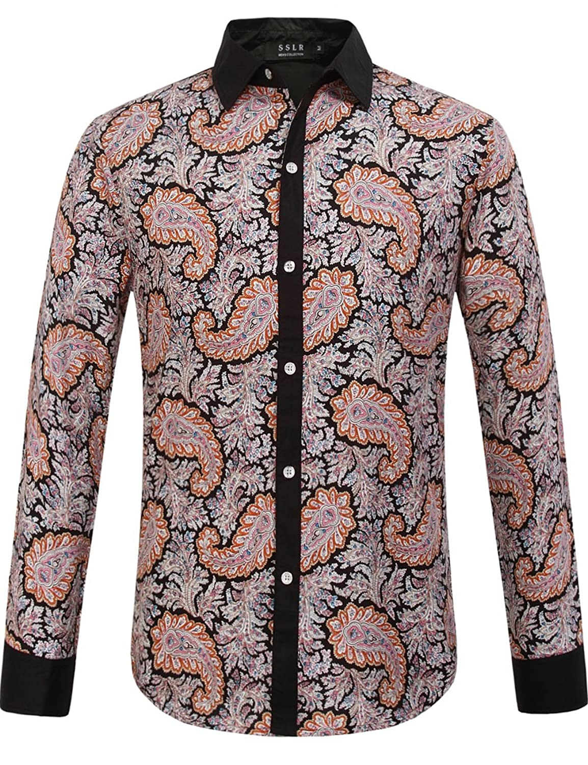 1960s Style Men's Clothing, 70s Men's Fashion Paisley Scatter Print Long Sleeve Shirt $25.00 AT vintagedancer.com