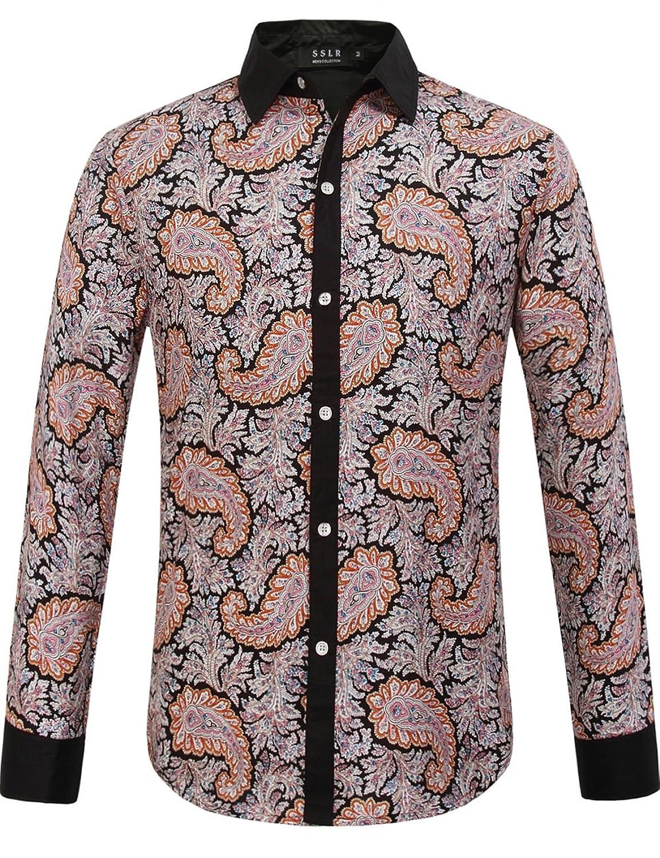 1960s – 1970s Mens Shirts- Dress, Mod, T-Shirt, Turtleneck Paisley Scatter Print Long Sleeve Shirt $25.00 AT vintagedancer.com