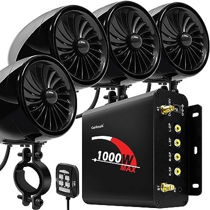 GoldenHawk 1000W 4 चैनल एम्पलीफायर 4 फुल रेंज वाटरप्रूफ ब्लूटूथ वायरलेस मोटरसाइकिल स्टीरियो स्पीकर ऑडियो Amp सिस्टम w/AUX, USB, SD, FM रेडियो Harley ...