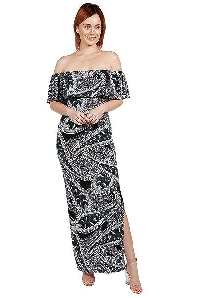 17d1419f374 24Seven Comfort Apparel Gabriella Black Off Shoulder Paisley Maxi Dress  with Side Slit Small Multicolor