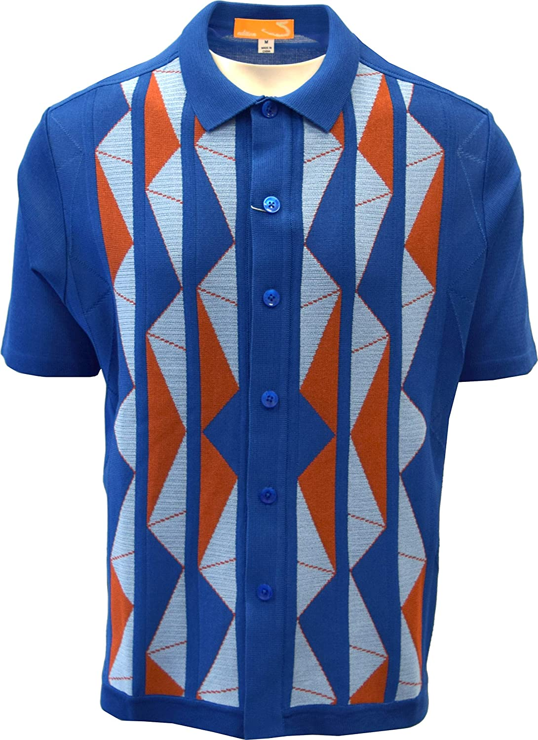 Mens Vintage Shirts – Casual, Dress, T-shirts, Polos Edition-S Mens Short Sleeve Knit Shirt- California Rockabilly Style Aztec Triangle Design $49.00 AT vintagedancer.com