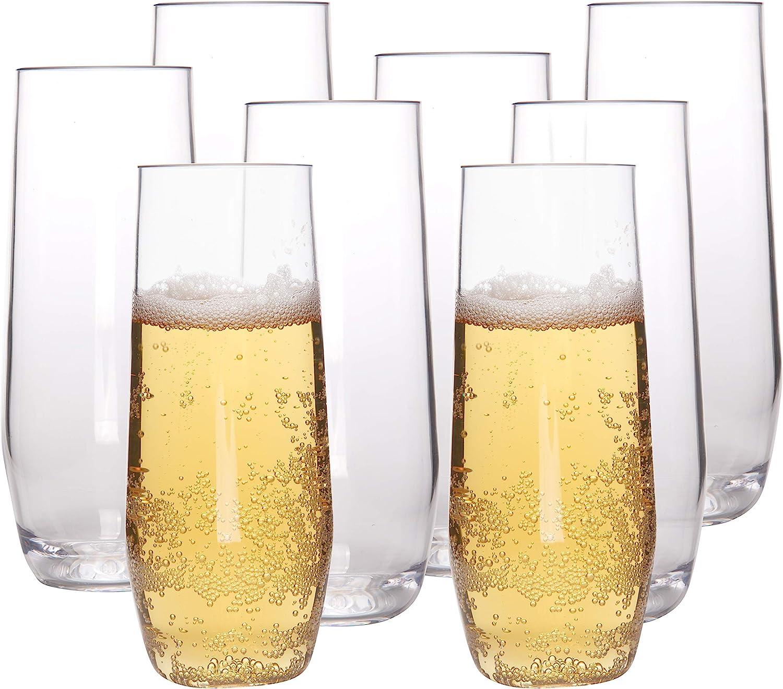 Unbreakable Stemless Champagne Glasses, 12oz - 100% Tritan - Shatterproof, Reusable, Dishwasher Safe Champagne Flutes (Set of 8) - Great Mother's Day Gift