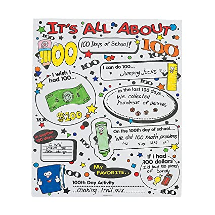 Fun Express Cyo All About 100th Day Of School Poster For 100th Day Of School Craft Kits Cyo Paper Misc Cyo Paper 100th Day Of School