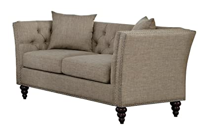 Fantastic Homelegance Marceau Tuxedo Style Loveseat With Flared Arm And Double Nailhead Accent Button Tufted With Two Toss Pillows Tan Customarchery Wood Chair Design Ideas Customarcherynet