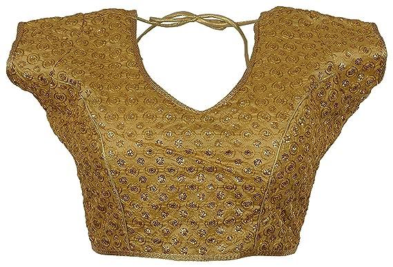 e0b32cb2c16adf Womensky Women's Brocade Saree Blouse (Gold,34-36): Amazon.in ...
