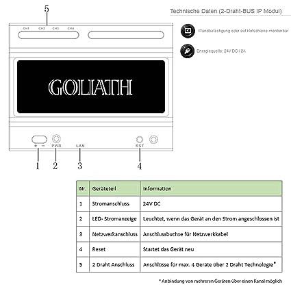 GOLIATH IP 2 Draht Video Türsprechanlage, 1,3 Megapixel Kamera, 2x 7 ...
