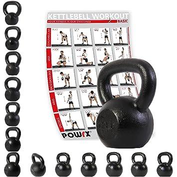 POWRX Kettlebell Pesa Rusa Hierro Fundido 4-20 kg + PDF Workout (12 kg): Amazon.es: Deportes y aire libre