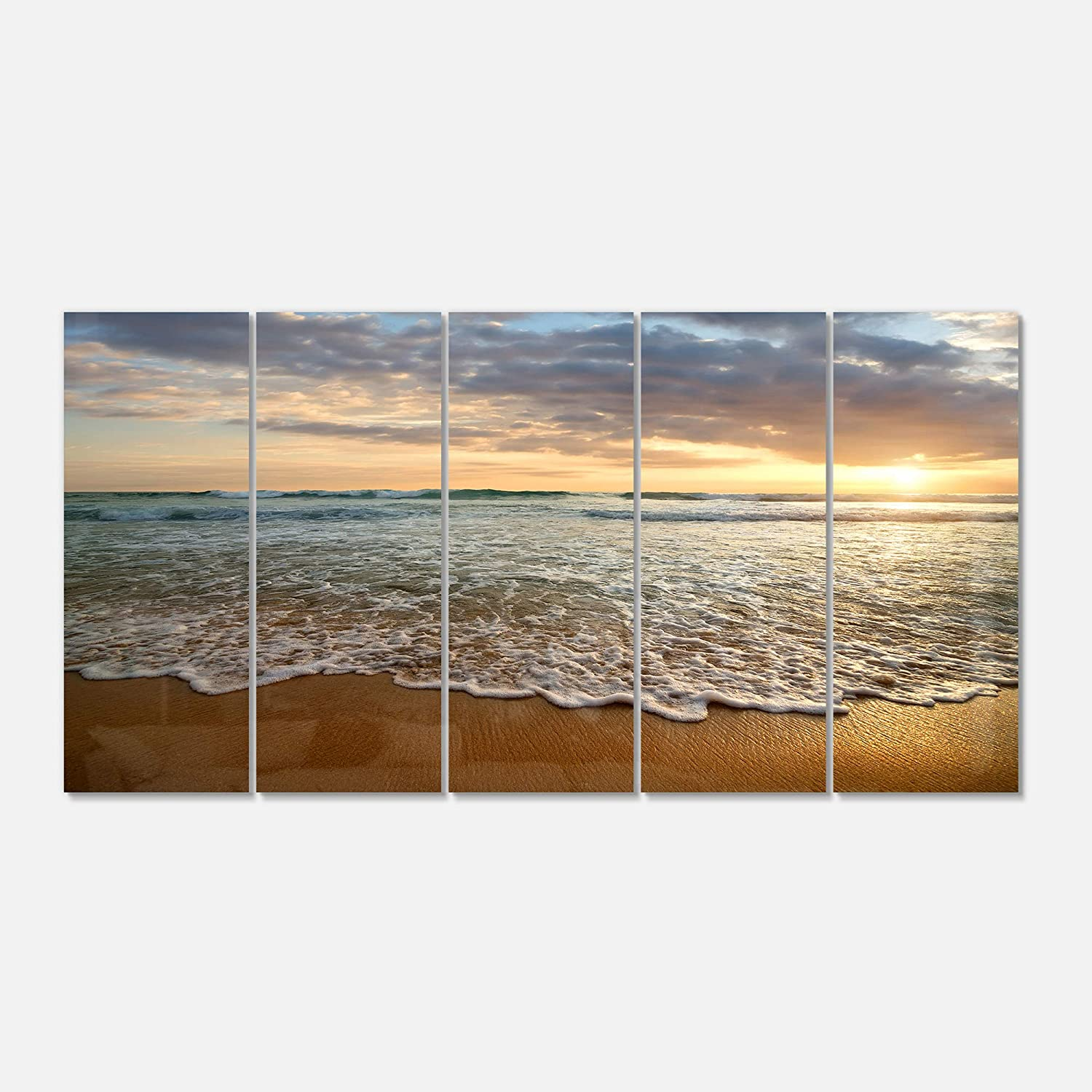 60 x 28 60 x 28 Design Art Blue//White Designart MT10728-401 Metal Wall Art