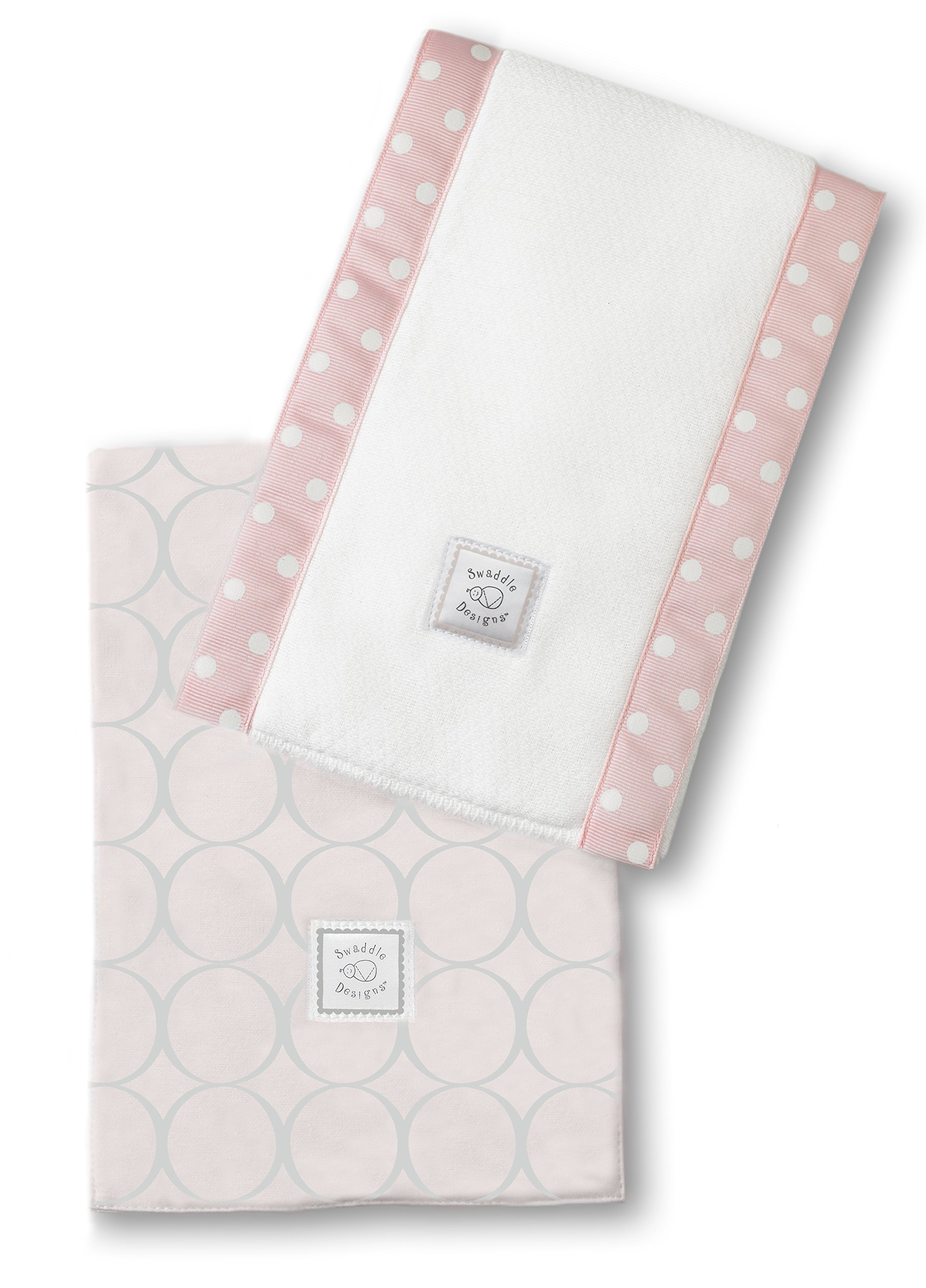 SwaddleDesigns Baby Burpies, Set of 2 Cotton Burp Cloths, Sterling Mod Circles on Sunwashed Pink by SwaddleDesigns